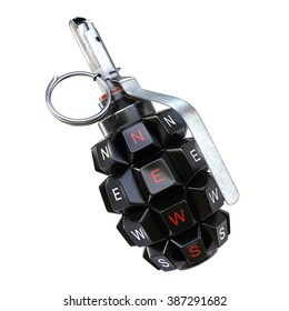 Keyboard grenade concept. Isolated on white background.