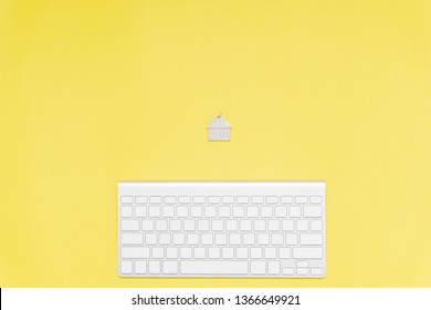 keyboard and home keychain, minimalist concept