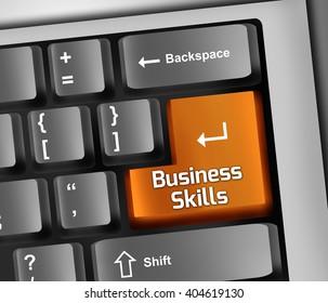Keyboard Illustration with Business Skills wording