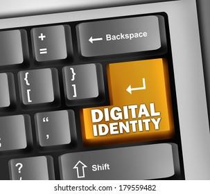 Keyboard Illustration with Digital Identity wording