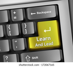 Keyboard Illustration with Learn And Lead wording