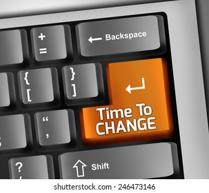 Keyboard Illustration with Time To Change wording