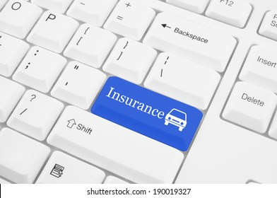 Keyboard with insurance button, car insurance concept