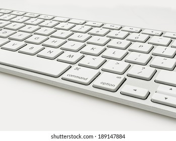 Keyboard Isolated on White Wide Angle View