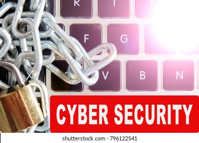 keyboard and key with CYBER SECURITY WORDS. Internet security concept