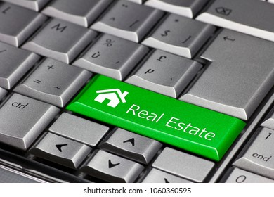 Keyboard key green - real estate house