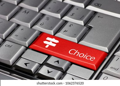keyboard key red - choice