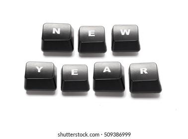 Keyboard keys. Computer keys. New year