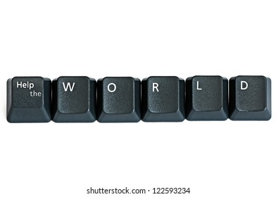 "Keyboard keys forming ""Help the World"""