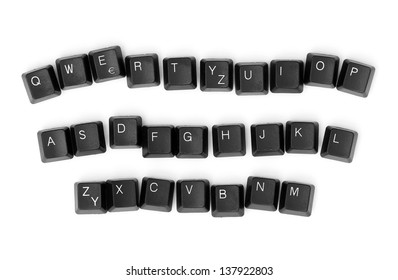 Keyboard keys isolated on a white background.
