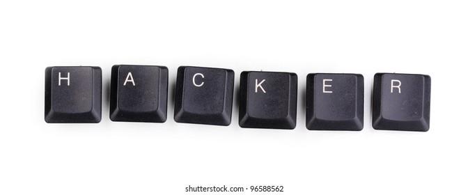 Keyboard keys saying hacker isolated on white