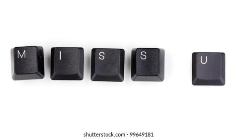Keyboard keys saying miss u isolated on white