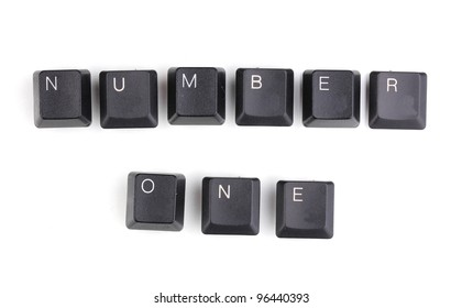 Keyboard keys saying number one isolated on white