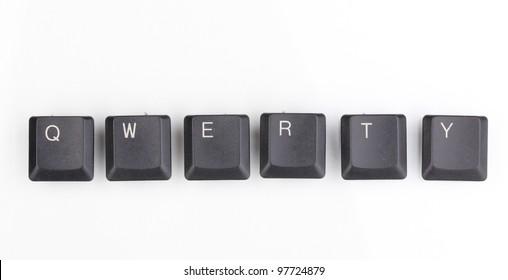 Keyboard keys saying qwerty isolated on white