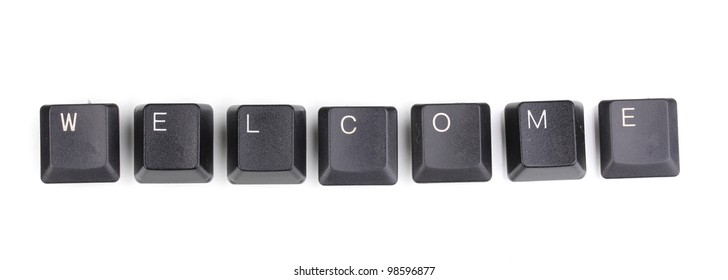 Keyboard keys saying welcome isolated on white