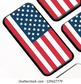 Keyboard keys with the USA flag painted on it