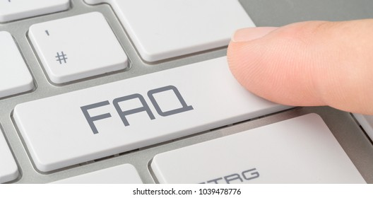 A keyboard with a labeled button - FAQ