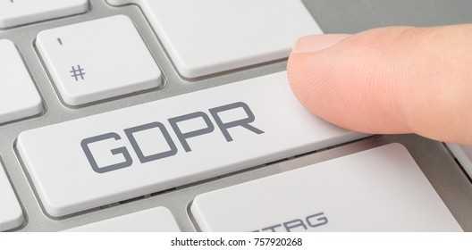 A keyboard with a labeled button - GDPR