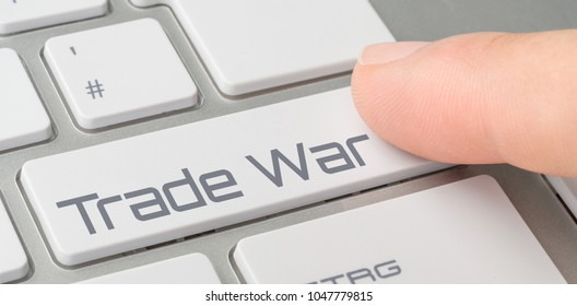 A keyboard with a labeled button - Trade War