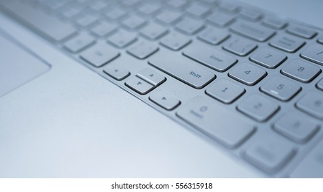 Keyboard of laptop closeup. Technology, business or education concept