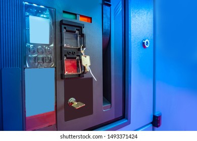 Keyboard lockable. Power supply at the factory. Blue electric shield at the factory. Electricity distribution board with key. Closed electricity distribution board. Switchboard locked. Switchboard