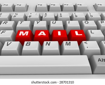 Keyboard. Mail. 3d