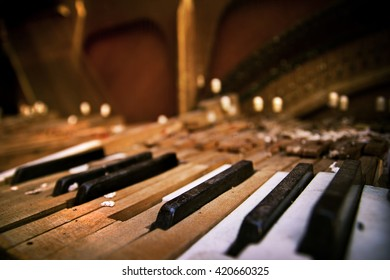 Keyboard of old broken piano (close-up view)