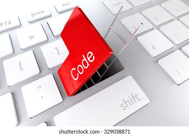 keyboard with red enter button open revealing underpass and ladder code illustration