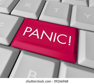 A keyboard with a red key reading Panic