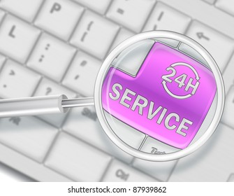 Keyboard with SERVICE 24 hours button with magnifying glass