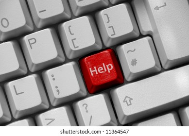 A keyboard showing a red 'Help' key
