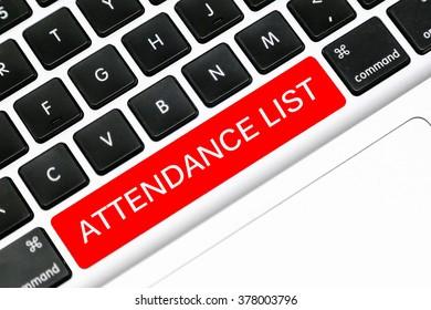 Keyboard space bar button written word attendance list