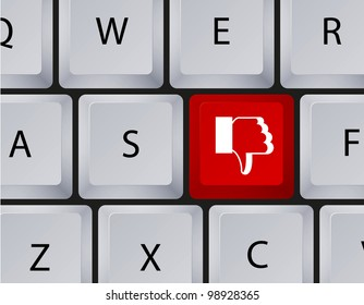 keyboard with thumbs down button
