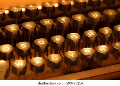 Keyboard of typewriter in sepia toning