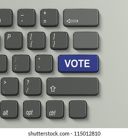 Keyboard with word Vote in blue as choice concept on white background