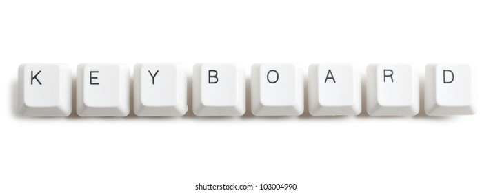 Keyboard word written with computer buttons over white background