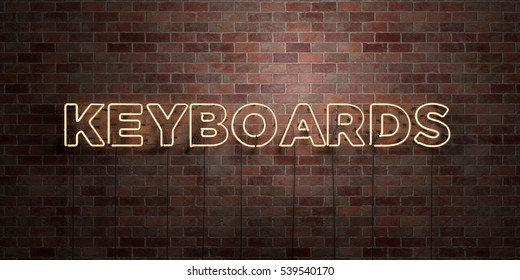 KEYBOARDS - fluorescent Neon tube Sign on brickwork - Front view - 3D rendered royalty free stock picture. Can be used for online banner ads and direct mailers.