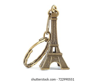 keychain Eiffel tower isolated on white