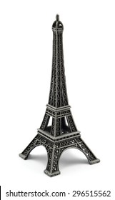Keychain souvenir from metal Eiffel Tower Paris isolated on white