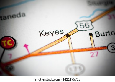Keyes. Oklahoma. USA on a map