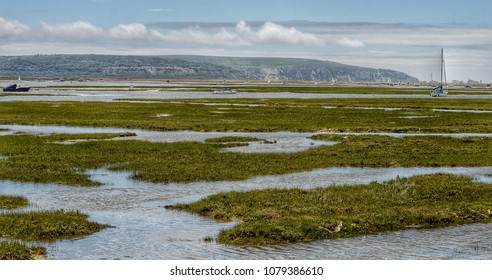 Keyhaven Marsh, looking towards the Isle of Wight