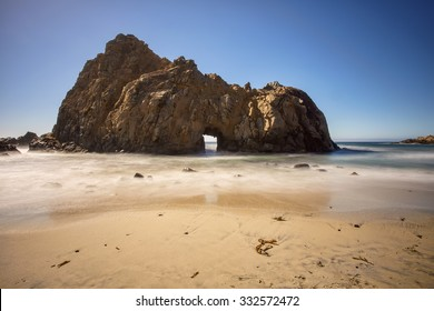 Keyhole Rock at Pfeiffer State Beach in Big Sur, California, off the Pacific Coast Highway (SR 1).