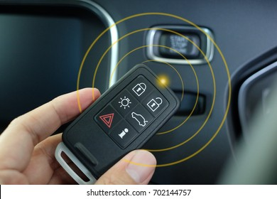 keyless entry system, Smart car remote in hand