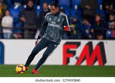 Keylor Navas of Real Madrid during the warm-up before the week 17 of La Liga match between Villarreal CF and Real Madrid at Ceramica Stadium in Villarreal, Spain on January 3 2019.