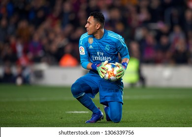 Keylor Navas of Real Madrid during the Spanish Cup (King's cup), first leg semi-final match between FC Barcelona and  Real Madrid at Camp Nou stadium on February 6, 2019 in Barcelona, Spain.
