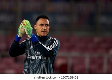 Keylor Navas of Real Madrid during the warm-up before the Spanish Cup, first leg semi-final match between FC Barcelona and  Real Madrid at Camp Nou stadium on February 6, 2019 in Barcelona, Spain.