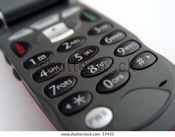 keypad of a cellular phone taken closeup