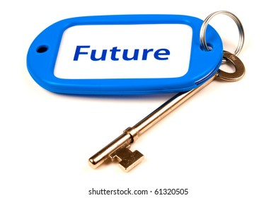 A Keyring with Future printed on it attached to a key