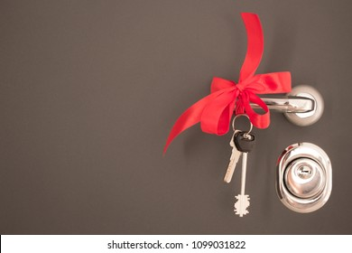 keys to the apartment on the background of the entrance door with a red bow