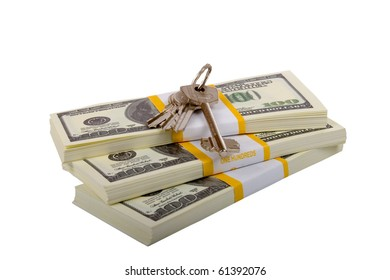 keys to the apartment on packets of dollars  isolated on a white background